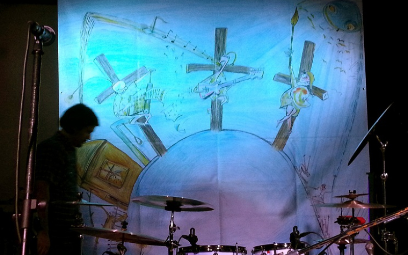 Backdrop met tekening van Martin Velíšek